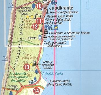 kurische nehrung karte Landkarte Kurische Nehrung, Nida, Juodkrante Litauen   Wanderkarte