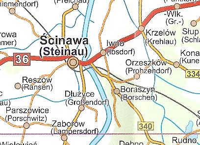 Schlesien Karte Deutsche Ortsnamen.Länderkarte Schlesien übersichtskarte Strassenkarte Landkarte 1